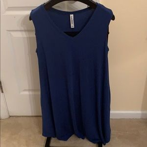 Blue tank dress with pockets. Knee length.